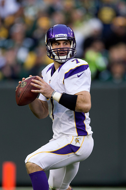 GREEN BAY, WI - DECEMBER 2:  Christian Ponder #7 of the Minnesota Vikings drops back to pass against the Green Bay Packers at Lambeau Field on December 2, 2012 in Green Bay, Wisconsin.  The Packers defeated the Vikings 23-14.  (Photo by Wesley Hitt/Getty Images) *** Local Caption *** Christian Ponder