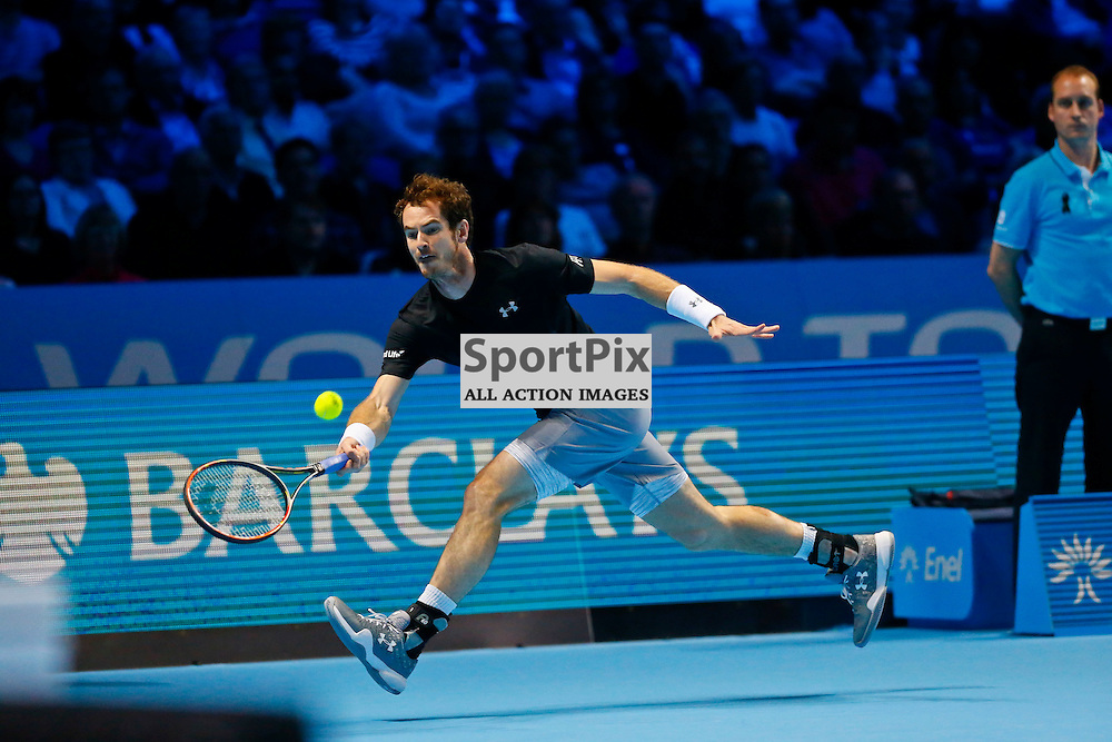 Andy Murrayraces to play a  return shot in the first set which he later went on to win 6-4. ATP Finals 2015 at O2 Arena, London. Andy Murray plays David Ferrer in their first match in the Group Ilie Nastase. 16th November 2015. (c) Matt Bristow | SportPix.org.uk