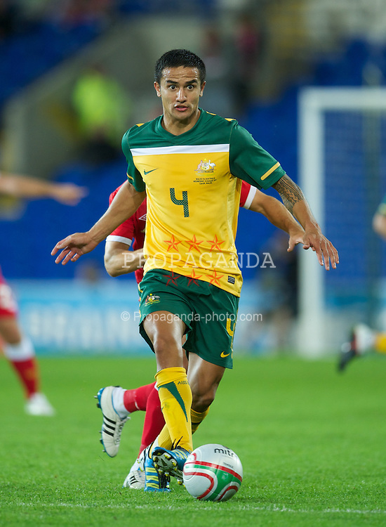 CARDIFF, WALES - Wednesday, August 10, 2011: Australia's Tim Cahill in action against Wales during an International Friendly match at the Cardiff City Stadium. (Photo by David Rawcliffe/Propaganda)