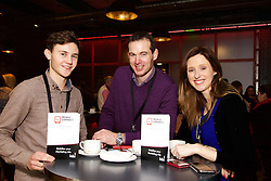 29/10/2015<br /> IAB Conference at the Guinness Storehouse.<br /> (l-r):<br /> Robert Flynn (Media Contact);<br /> Cian &Oacute; Mangain<br /> and Aislinn Beahan (Ulster Bank).