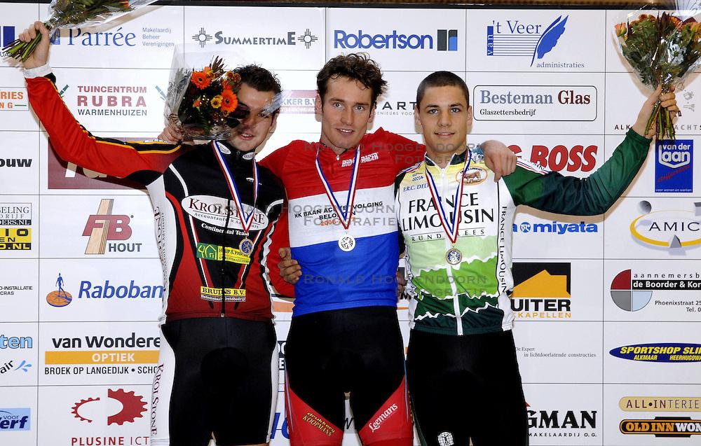 29-12-2006 WIELRENNEN: NK BAANRENNEN 2006: ALKMAAR<br /> Op de 1 kilometer tijdrit was Tim Veldt de sterkste. Hij bleef met 1.04,773 de concurrentie ruim voor. Yondi Schmidt legde met 1.07,808 beslag op de tweede plaats, net v&oacute;&oacute;r Patrick Bos (1.07,848).<br /> &copy;2006-WWW.FOTOHOOGENDOORN.NL