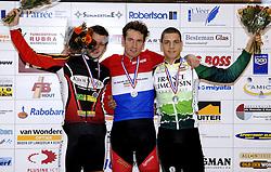 29-12-2006 WIELRENNEN: NK BAANRENNEN 2006: ALKMAAR<br /> Op de 1 kilometer tijdrit was Tim Veldt de sterkste. Hij bleef met 1.04,773 de concurrentie ruim voor. Yondi Schmidt legde met 1.07,808 beslag op de tweede plaats, net vóór Patrick Bos (1.07,848).<br /> ©2006-WWW.FOTOHOOGENDOORN.NL