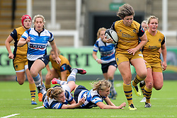 Sasha Acheson of Bristol Ladies breaks to score a try - Rogan Thomson/JMP - 08/10/2016 - RUGBY UNION - Kingston Park - Newcastle, England - Darlington Mowden Park Sharks v Bristol Ladies Rugby - RFU Women's Premiership.