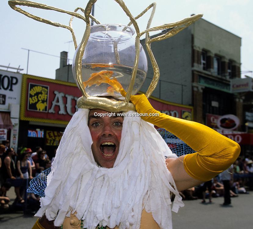 New York. Parade in Coney island. Mermaid parade in Coney island , Brighton beach  new york  Usa / parade des sirènes Coney island Brighton beach, parade deguisee humoristique  new york  Usa