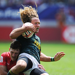 Werner Kok celebrates of South Africa scores a try during match between South Africa and Russia at the HSBC Paris Sevens, stage of the Rugby Sevens World Series at Stade Jean Bouin on June 9, 2018 in Paris, France. (Photo by Sandra Ruhaut/Icon Sport)