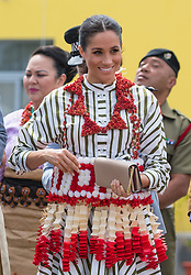 The Duchess of Sussex wears a Ta'ovala during a visit to an exhibition of Tongan handicrafts at the Fa'onelua Convention Centre, in Nuku'Alofa, Tonga, on day two of the royal couple's visit to Tonga.