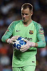 September 18, 2018 - Barcelona, Barcelona, Spain - Marc-Andre Ter Stegen of FC Barcelona with the ball during the UEFA Champions League group B match between FC Barcelona and PSV Eindhoven at Camp Nou on September 18, 2018 in Barcelona, Spain  (Credit Image: © David Aliaga/NurPhoto/ZUMA Press)