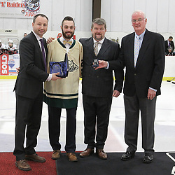 GEORGETOWN, ON  - APR 13,  2017: Ontario Junior Hockey League, Championship Series. Georgetown Raiders vs the Trenton Golden Hawks in Game 1 of the Buckland Cup Final. The 2017 OJHL Awards presentation held in a pre-game ceremony before game one of the Buckland Cup Championship Series, in Georgetown Ontario. Best Goaltender, Stefano Durante of the Cobourg Cougars.<br /> (Photo by Tim Bates / OJHL Images)
