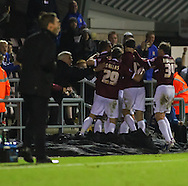 Picture by David Horn/Focus Images Ltd +44 7545 970036<br /> 16/11/2013<br /> Northampton Town celebrate the winning goal by Luke Norris during the Sky Bet League 2 match at Sixfields Stadium, Northampton.