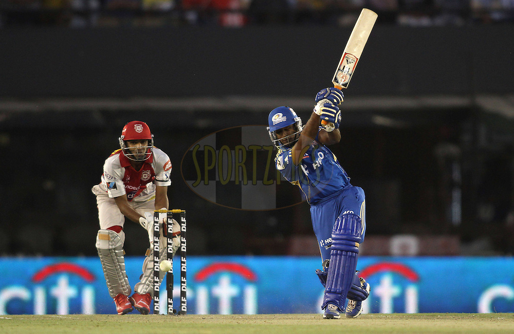 Ambati Rayudu of the Mumbai Indians attacks a delivery during match 33 of the the Indian Premier League (IPL) 2012  between The Kings X1 Punjab and The Mumbai Indians held at the Punjab Cricket Association Stadium, Mohali on the 25th April 2012..Photo by Shaun Roy/IPL/SPORTZPICS