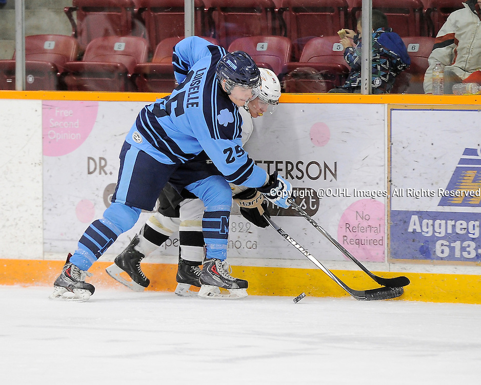 TRENTON, ON - Dec 7, 2014 : Ontario Junior Hockey League game action between St. Michaels and Trenton, Bron Loiselle #25 of the St.Michael's Buzzers battles for the puck<br /> (Photo by Amy Deroche/ OJHL Images)