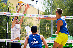 Danijel Pokersnik of SK Vienpi vs Jernej Potocnik of Debitel during Qlandia Beach Challenge 2015 and Beach Volleyball Slovenian National Championship 2015, on July 25, 2015 in Kranj, Slovenia. Photo by Ziga Zupan / Sportida