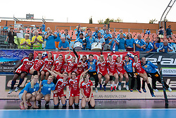 Players of Krim Mercator celebrate victory during handball match between RK Zagorje and RK Krim Mercator of Super Cup 2016, on August 27, 2014 in SRC Marina, Portoroz / Portorose, Slovenia. Photo by Matic Klansek Velej / Sportida