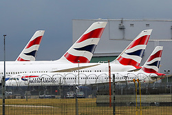 © Licensed to London News Pictures. 09/09/2019. London, UK. British Airways aeroplanes grounded at London Heathrow Terminal 3 on the first day of the two days first-ever strike staged by British Airways pilots dispute over pay. Photo credit: Dinendra Haria/LNP