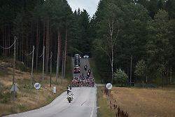 The peloton exits a forest on Stage 2 of the Ladies Tour of Norway - a 140.4 km road race, between Sarpsborg and Fredrikstad on August 19, 2017, in Ostfold, Norway. (Photo by Balint Hamvas/Velofocus.com)