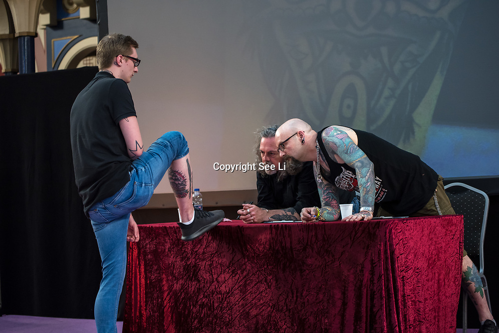 Tattoo Contests  at The Great British Tattoo Show feature Tattoo Contests and The Doll UK on May 26, 2018, London, UK.