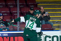 KELOWNA, CANADA - FEBRUARY 2: Riley Sutter #14 of the Everett Silvertips warms up with the puck against the Kelowna Rockets  on FEBRUARY 2, 2018 at Prospera Place in Kelowna, British Columbia, Canada.  (Photo by Marissa Baecker/Shoot the Breeze)  *** Local Caption ***
