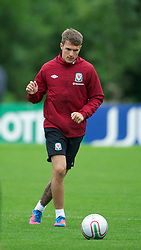 CARDIFF, WALES - Monday, August 13, 2012: Wales' captain Aaron Ramsey during a training session at the Vale of Glamorgan ahead of the international friendly match against Bosnia-Herzegovina. (Pic by David Rawcliffe/Propaganda)