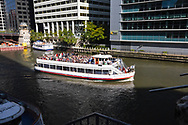 Tourist boat in Chicago River