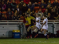 Catriona McNaney kicks the ball froward for Sophie Tandy to chase, Army Women v U20 England Women at the Army Rugby Stadium, Aldershot, England, on 16th February 2017. Final score 15-38.