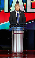 US Republican Presidential Candidate , Donald Trump, during the Republican Presidential Debate at the University of Houston in Houston, Texas on February 25, 2016.