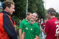 BLOEMENDAAL - Jaap Stockmann met Ronald Brouwer. Oud internationals Eby Kessing, Ronald Brouwer en Nick Meijer, alle spelers van Bloemendaal, namen afscheid met een afscheidsdrieluik. COPYRIGHT KOEN SUYK
