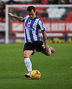 Sheffield Wednesday midfielder Ross Wallace with a ball into the box trying to create something for Shef Wed during the Sky Bet Championship match between Charlton Athletic and Sheffield Wednesday at The Valley, London, England on 7 November 2015. Photo by Matthew Redman.