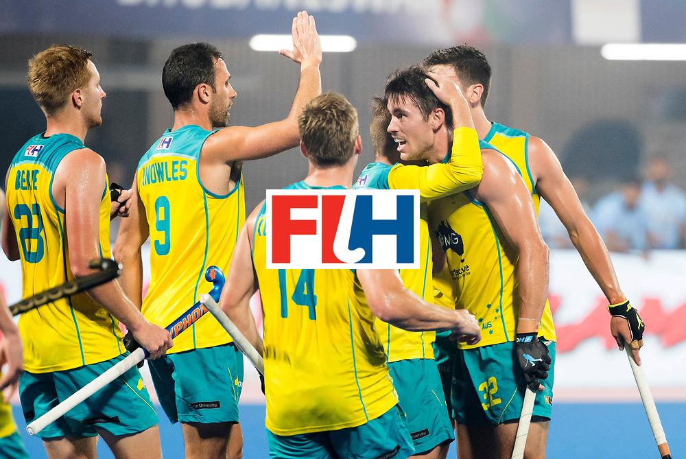 BHUBANESWAR - The Odisha Men's Hockey World League Final . Match ID 02. Australia v India. Jeremy Hayward (Aus) scored 1-1.    .WORLDSPORTPICS COPYRIGHT  KOEN SUYK