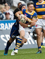 Bay of Plenty's Mike Delany, right, is tackled by Otago's Teihorangi Walden in the Mitre 10 Cup rugby match, Forsyth Barr Stadium, Dunedin, New Zealand, Oct. 7 2017.  Credit:SNPA / Adam Binns ** NO ARCHIVING**
