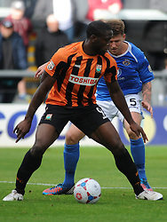 Barnets John Akinde attacks Eastleighs Defence, Barnet v Eastleigh, Vanarama Conference, Saturday 4th October 2014