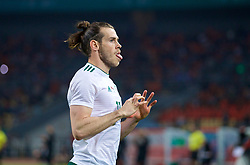 NANNING, CHINA - Thursday, March 22, 2018: Wales' Gareth Bale celebrates scoring the first goal during the opening match of the 2018 Gree China Cup International Football Championship between China and Wales at the Guangxi Sports Centre. (Pic by David Rawcliffe/Propaganda)