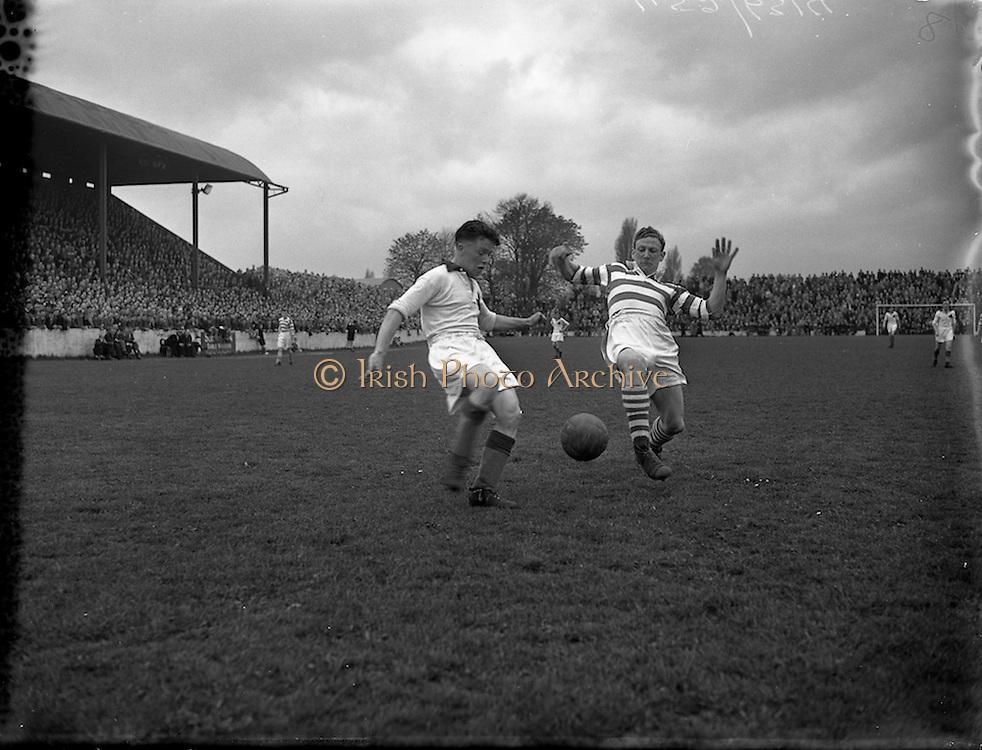 18/04/1954 <br /> 04/18/1954<br /> 18 April 1954<br /> Evergreen United v Shamrock Rovers at Glenmalure Park,  Milltown, Dublin.