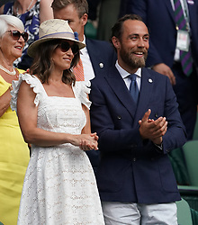 &copy; Licensed to London News Pictures.05/07/18.<br /> London, UK: The Wimbledon Lawn Tennis Championships at All England Lawn Tennis and Croquet Club<br /> pippa middleton and her brother james in the royal box