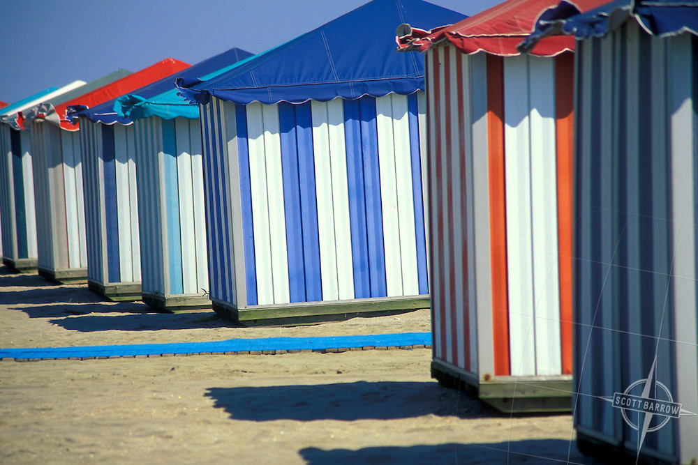 Colorful cabanas at Casino Beach, New Jersey.
