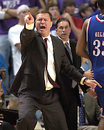 Kansas head coach Bill Self yells out some instructions during the second half against Kansas State at Bramlage Coliseum in Manhattan, Kansas, March 4, 2006.  The Jayhawks won 66-52.