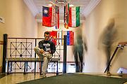 Business major Jake Santora studies before class in Copeland Hall. Photo By Ben Siegel