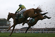Modus and Barry Geraghty clear the last in The Betway Bowl Steeple Chase  at Aintree, Liverpool, United Kingdom on 12 April 2018. Picture by Craig Galloway.
