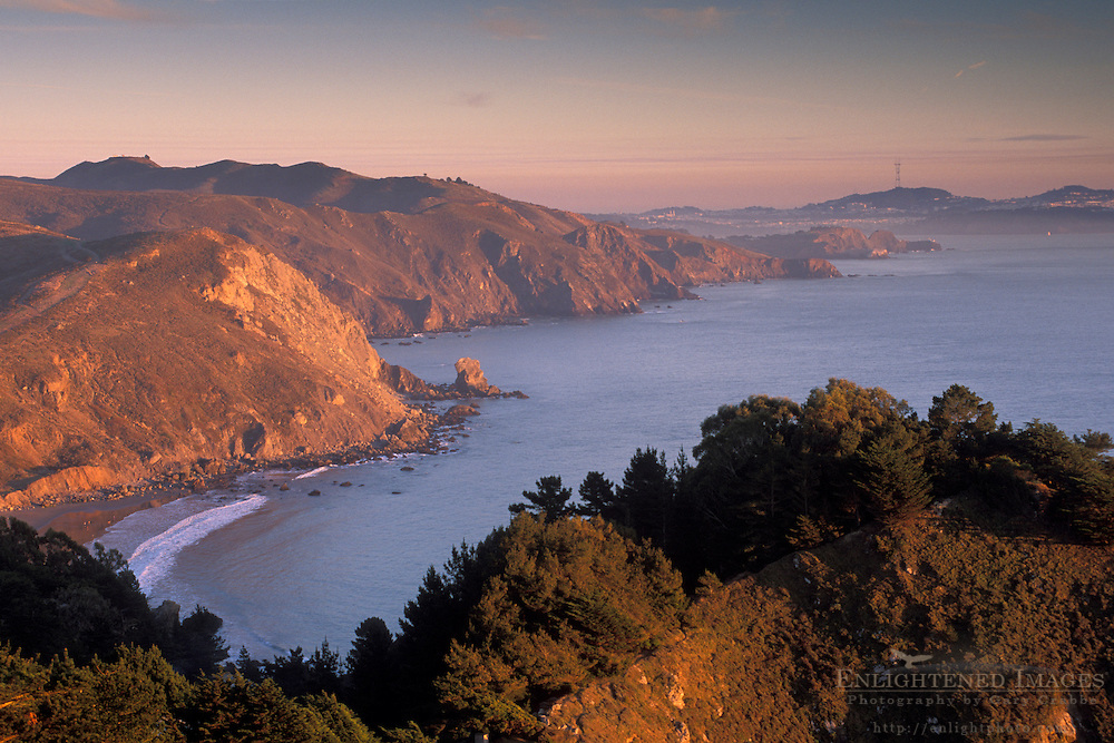 Sunset light on the rugged coastal cliffs overlooking the Pacific Ocean from above Muir Beach, Marin County, California Sunset light on the rugged coastal cliffs overlooking the Pacific Ocean from above Muir Beach, Marin County, California