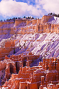 Fresh powder on rock formations below Inspiration Point, Bryce Canyon National Park, Utah