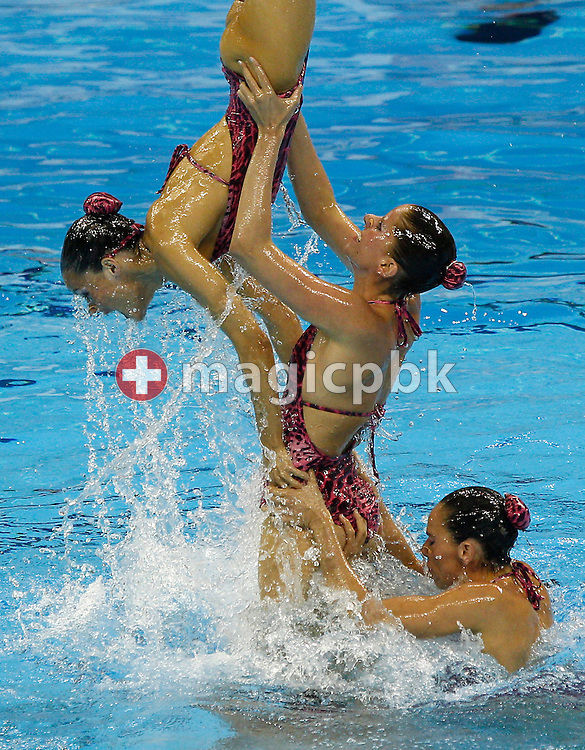 The team of Spain performs in the Synchronized (synchronised) Swimming Team Free Combination final during the 14th FINA World Aquatics Championships at the Oriental Sports Center in Shanghai, China, Thursday, July 21, 2011. (Photo by Patrick B. Kraemer / MAGICPBK)
