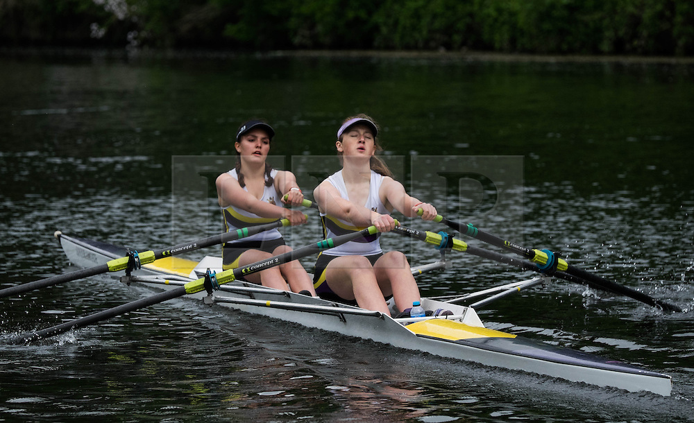 © Licensed to London News Pictures.13/06/15<br /> Durham, England<br /> <br /> Women rowers make their way down the course during the 182nd Durham Regatta rowing event held on the River Wear. The origins of the regatta date back  to commemorations marking victory at the Battle of Waterloo in 1815. This is the second oldest event of this type in the country and attracts over 2000 competitors from across the country.<br /> <br /> Photo credit : Ian Forsyth/LNP