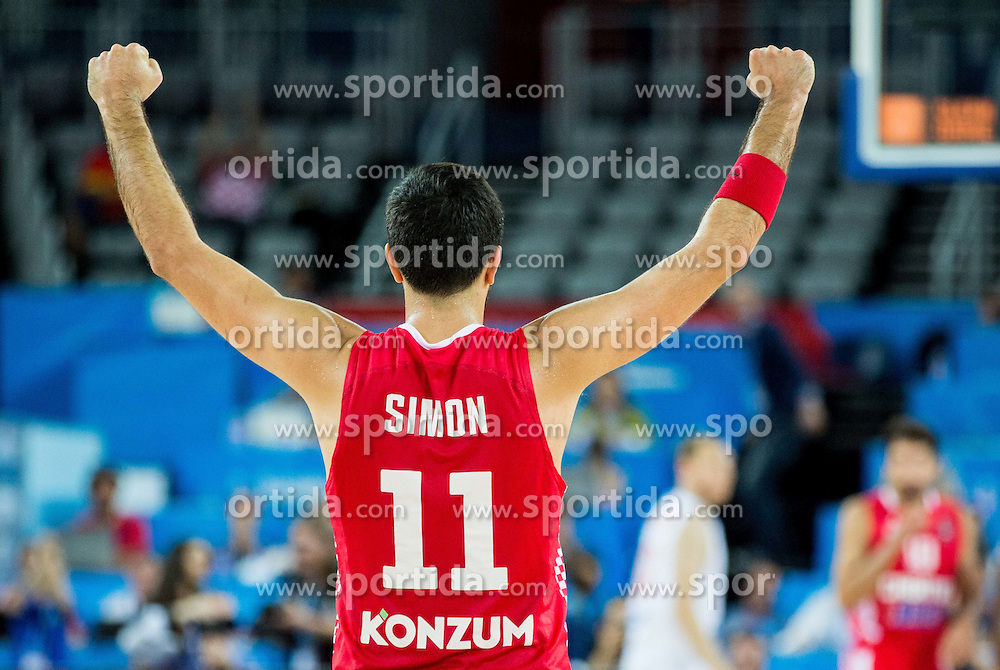 Krunoslav Simon of Croatia celebrates during basketball match between Netherlands and Croatia at Day 5 in Group C of FIBA Europe Eurobasket 2015, on September 9, 2015, in Arena Zagreb, Croatia. Photo by Vid Ponikvar / Sportida