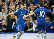 Picture by Alan Stanford/Focus Images Ltd +44 7915 056117.08/05/2013.Oscar of Chelsea celebrates his goal  with Juan Mata during the Barclays Premier League match at Stamford Bridge, London..