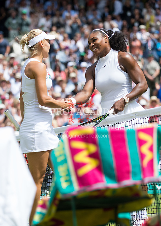 LONDON, ENGLAND - Thursday, July 7, 2016:  Serena Williams (USA) after winning the Ladies' Singles - Semi-finals match on day eleven of the Wimbledon Lawn Tennis Championships at the All England Lawn Tennis and Croquet Club. (Pic by Kirsten Holst/Propaganda)