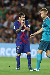 August 13, 2017 - Barcelona, Spain - Lionel Messi of FC Barcelona looks dejected after defeat in the Spanish Super Cup football match between FC Barcelona and Real Madrid on August 13, 2017 at Camp Nou stadium in Barcelona, Spain. (Credit Image: © Manuel Blondeau via ZUMA Wire)