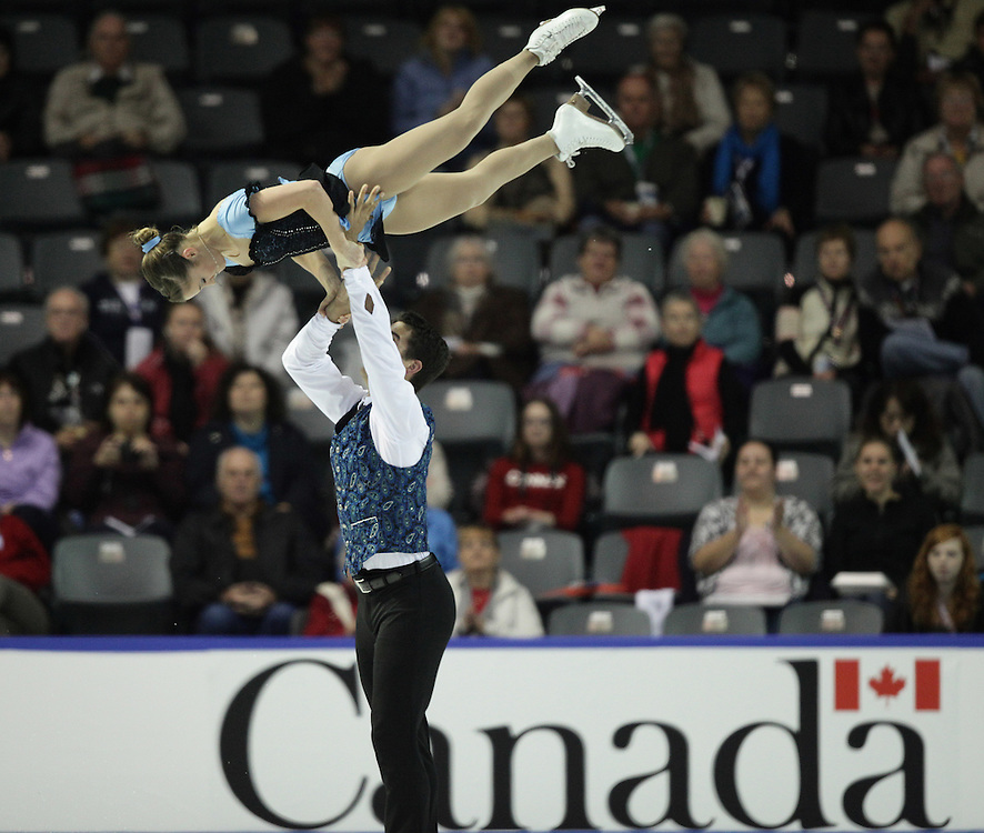 --20101029- Kingston, Ontario,Canada -- Paige Lawrence and Rudi Sweigers of Canada skate their short program in the pairs competition Skate Canada International in Kingston, Ontario, October 29, 2010.<br /> AFP PHOTO/Geoff Robins