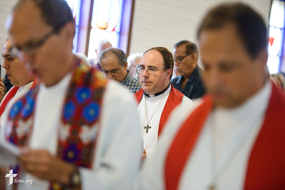 The Rev. Dr. Antonio Lopez, new national missionary pastor at El Calvario Lutheran Church, walks in the procession for his installation service on Sunday, July 31, 2016, at the parish in Brownsville, Texas. LCMS Communications/Erik M. Lunsford