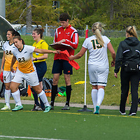2nd year midfielder Chantelle Doell (23) of the Regina Cougars subs in for 5th year defender Racquel Marshall (15) of the Regina Cougars during the Women's Soccer Homeopener on September 10 at U of R Field. Credit: Arthur Ward/Arthur Images