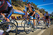 Professional cyclists at the Amgen Tour of California, Santa Monica Mountains, California USA