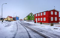 EYRABAKKI, ICELAND - CIRCA MARCH 2015: Colorful houses of Eyrarbakki, a fishing village on the south coast of Iceland with a population of about 570 people.